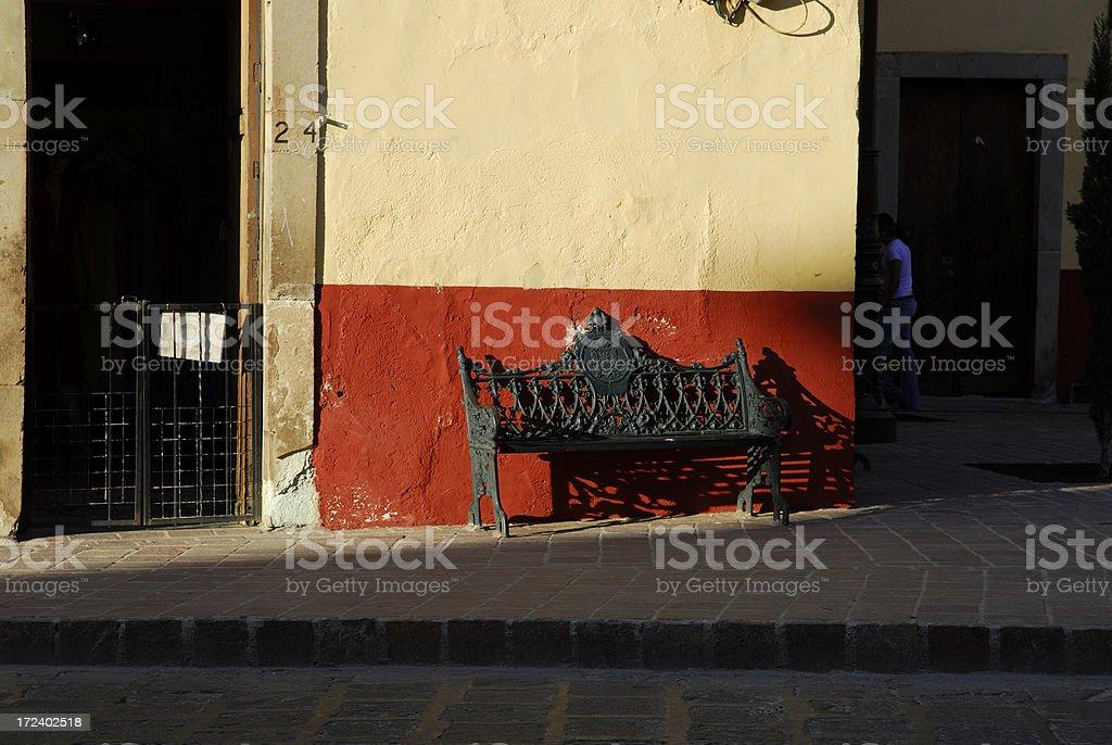 Wrought iron bench, Mexico stock photo