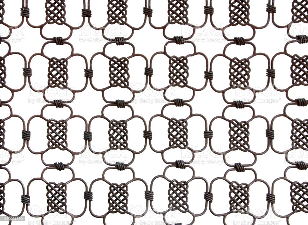 wrought iron celtic knots on white background stock photo