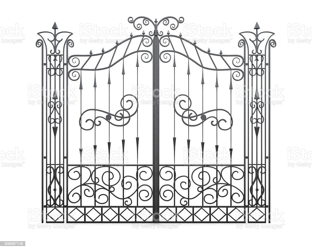 Wrought iron gate isolated on white background. Fence front view stock photo