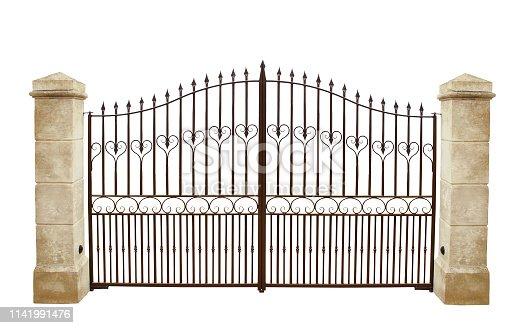 Elegant metal grid. Bars, heart, volutes, points.