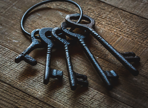 istock Wrought Iron Keys in a Vintage setting 976454988