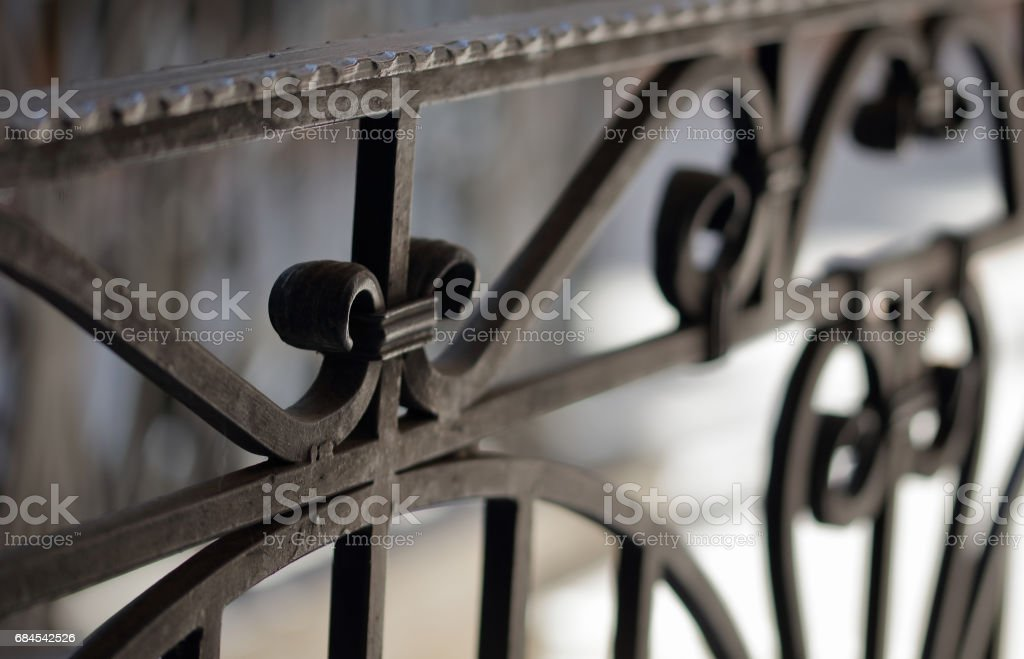Wrought iron railings and handrail stock photo