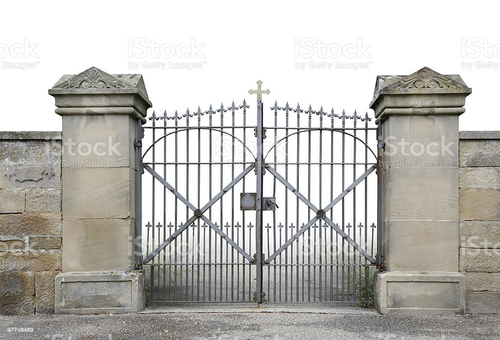 wrought-iron gate and wall stock photo