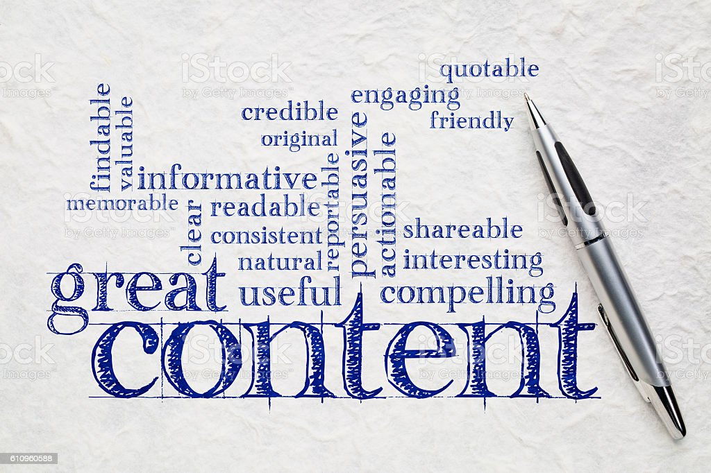 wrting great content concept stock photo