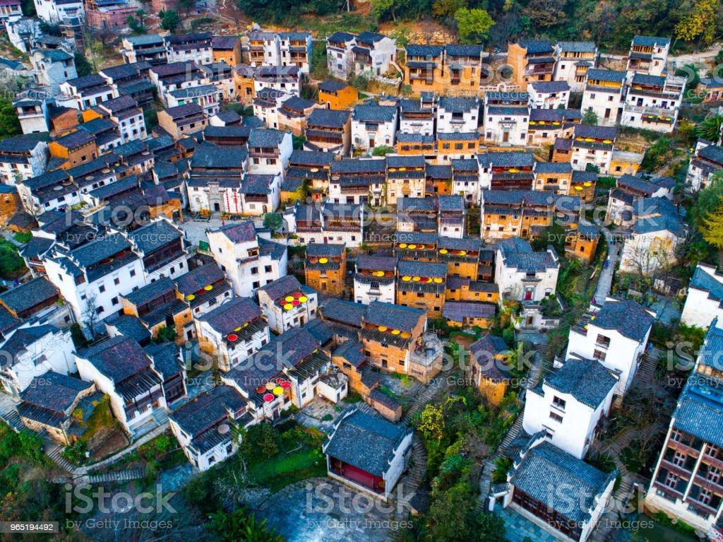 wu yuan village in autumn zbiór zdjęć royalty-free