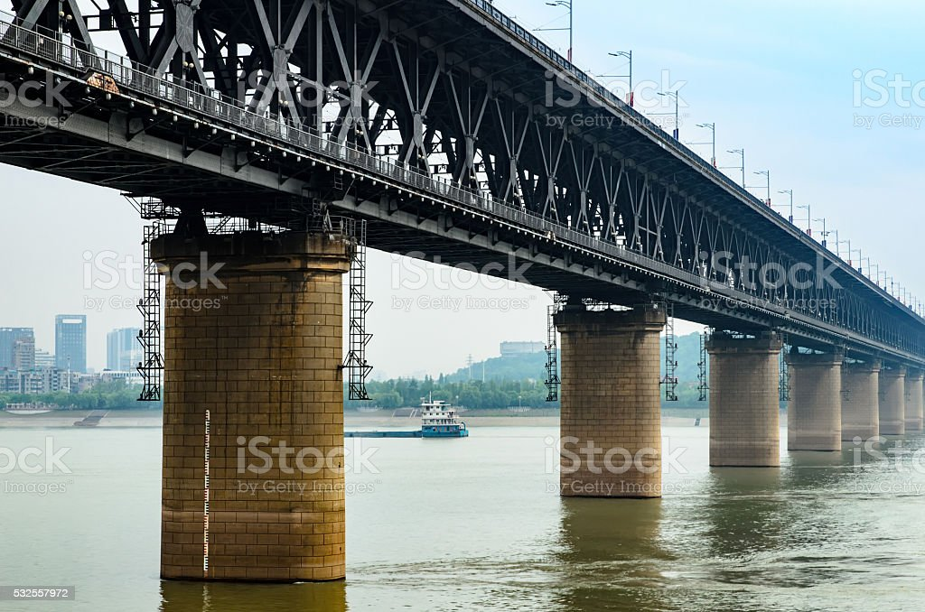 Wuhan Yangtze River bridge, China stock photo