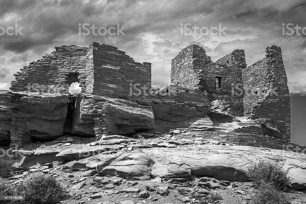 Wukoki Pueblo Ruin in Black and White stock photo