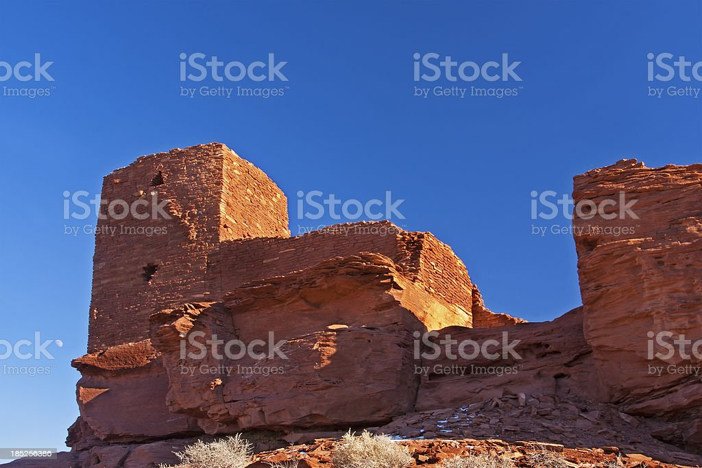 Wukoki Ruins and Moon royalty-free stock photo