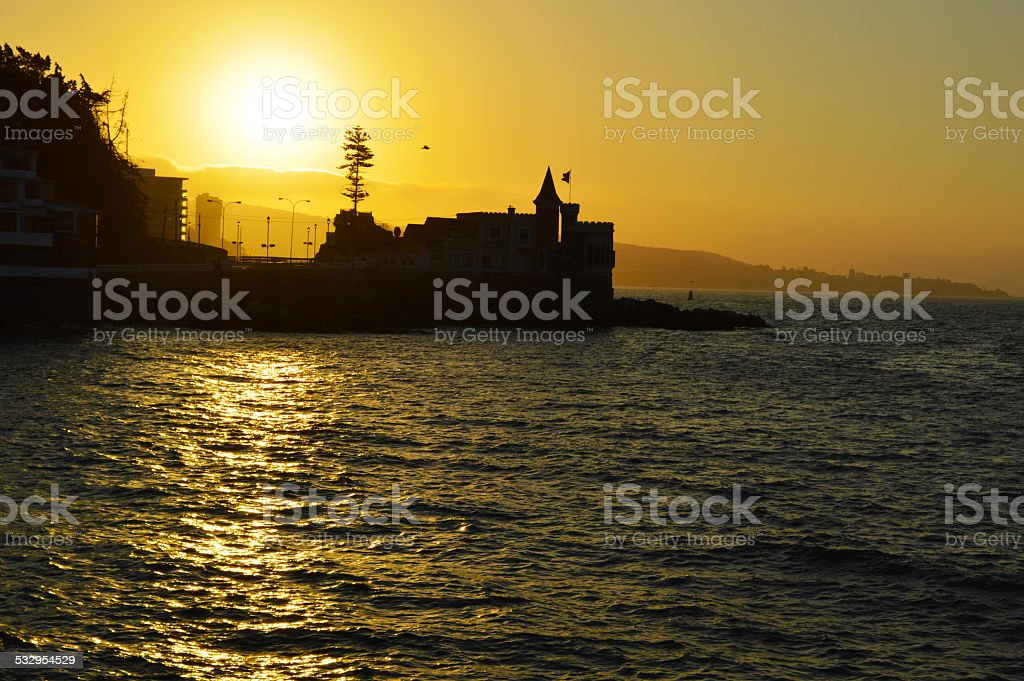 Wulff Castle at sunset in Viña del Mar stock photo