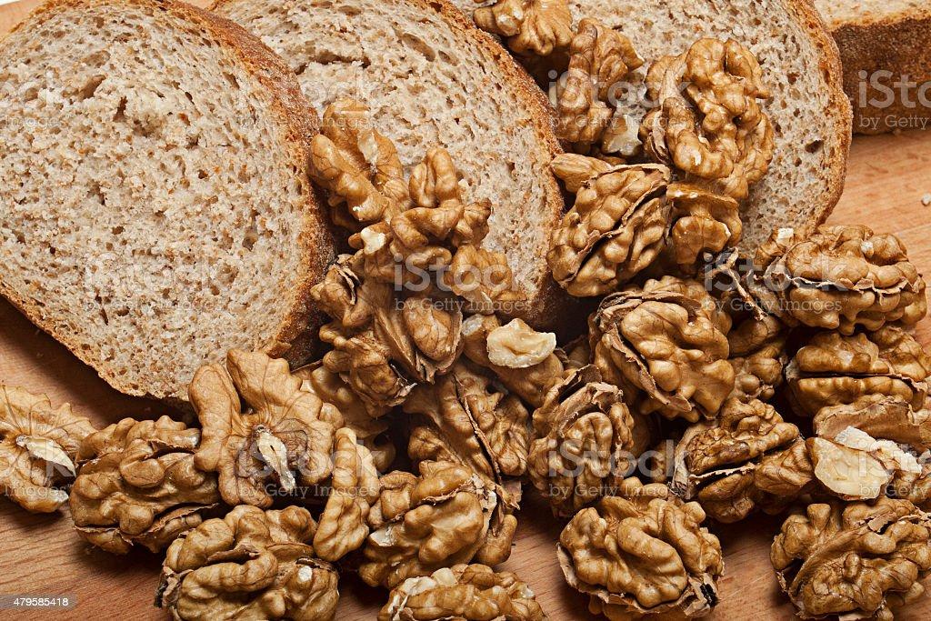 Wullnut with brown bread stock photo