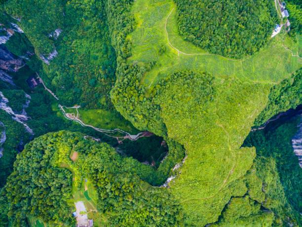 우 룽 카르스트 세계 자연 유산. 충칭, 중국 - 카르스트 지형 뉴스 사진 이미지