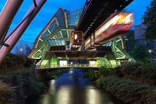 Wuppertal Suspension Railway in Germany lit up at night stock photo