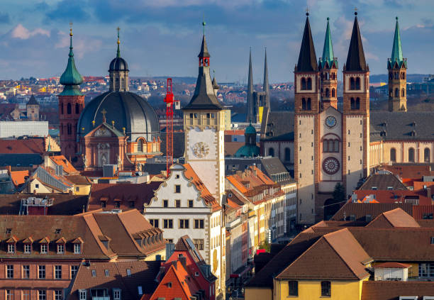 Wurzburg. Aerial city view. stock photo