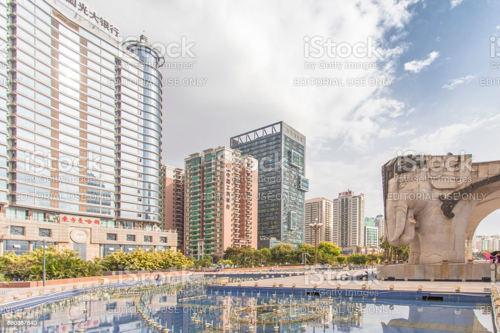 Wuxiang square in the capital of the Guangxi, China: Nanning. stock photo