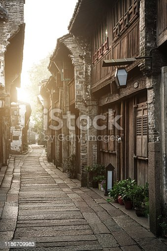 Stone pathway in ancient town