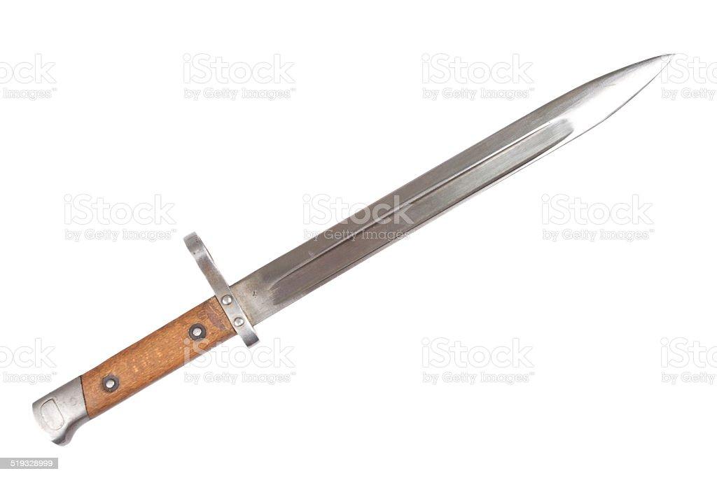 ww1 period bayonet isolated on white background stock photo