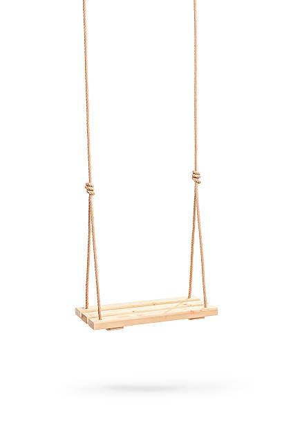 wwooden swing hanging on a couple of ropes - schommelen bungelen stockfoto's en -beelden