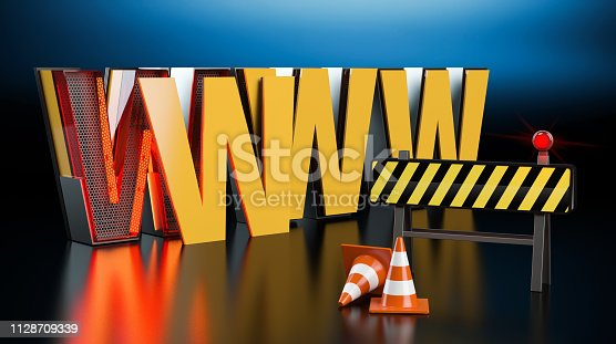 istock www under construction, dark background -  3D illustration 1128709339