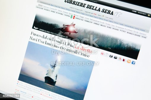 Florence, Italy - March 19, 2011: Close up of the www.corriere.it web pages show news about the attack of U.S coalition airforce against libian military soldiers.Corriere.it was the italian online news site of the Corriere della Sera newspaper . It is the most famous newspaper in Italy. The browser is Internet Explorer 8.
