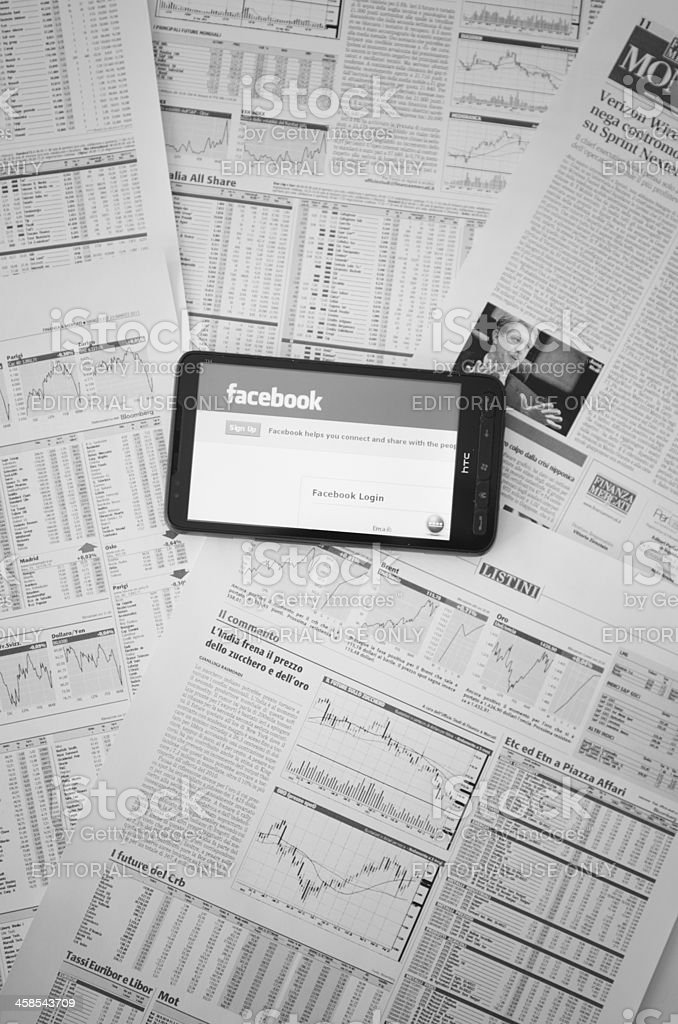 www.facebook.com on HTC smart phone royalty-free stock photo