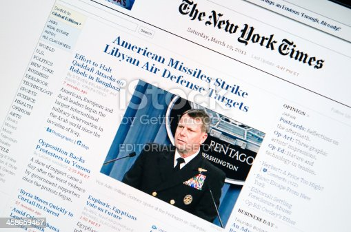 Florence, Italy - March 19, 2011: Close up of the www.nytimes.com web pages show news about the attack of U.S coalition airforce against libian military soldiers.The New York Times is one of the most popular newspapers published in the U.S., based in New York. The browser is Internet Explorer 8.