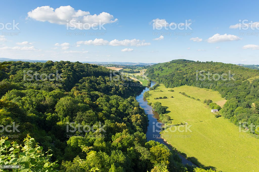 Wye Valley and River Wye between Herefordshire and Gloucestershire UK stock photo