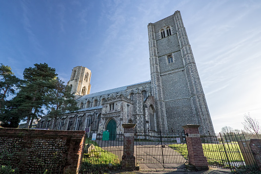 Wymondham abbey. Magnificent ancient Norman architecture church. Historic religious building in East Anglia, Norfolk, UK.