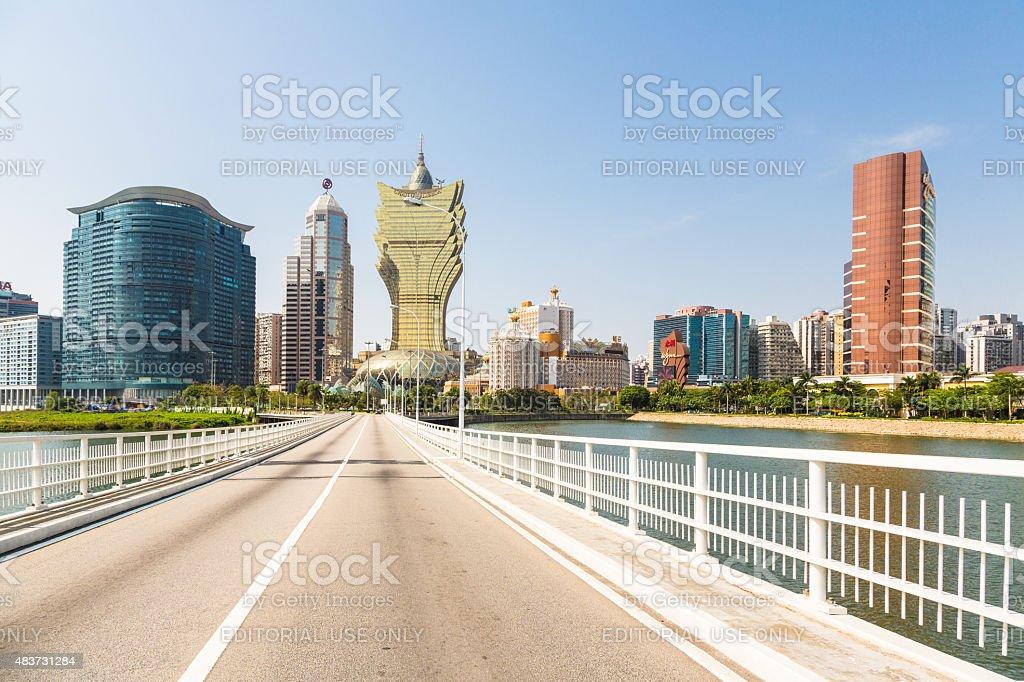Wynn and Grand Lisboa casinos in Macau stock photo