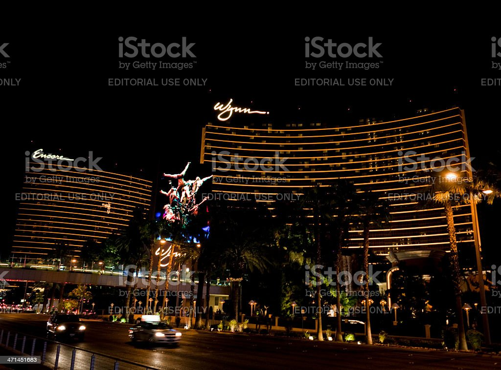 Wynn/Encore Hotel and Casino Nighttime stock photo