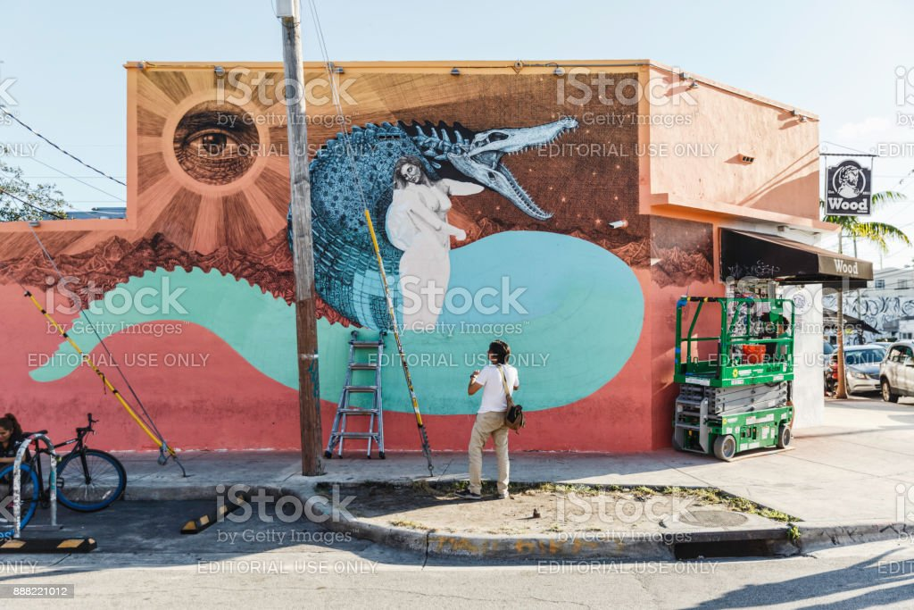 Wynwood Art District preparing for Art Basel stock photo