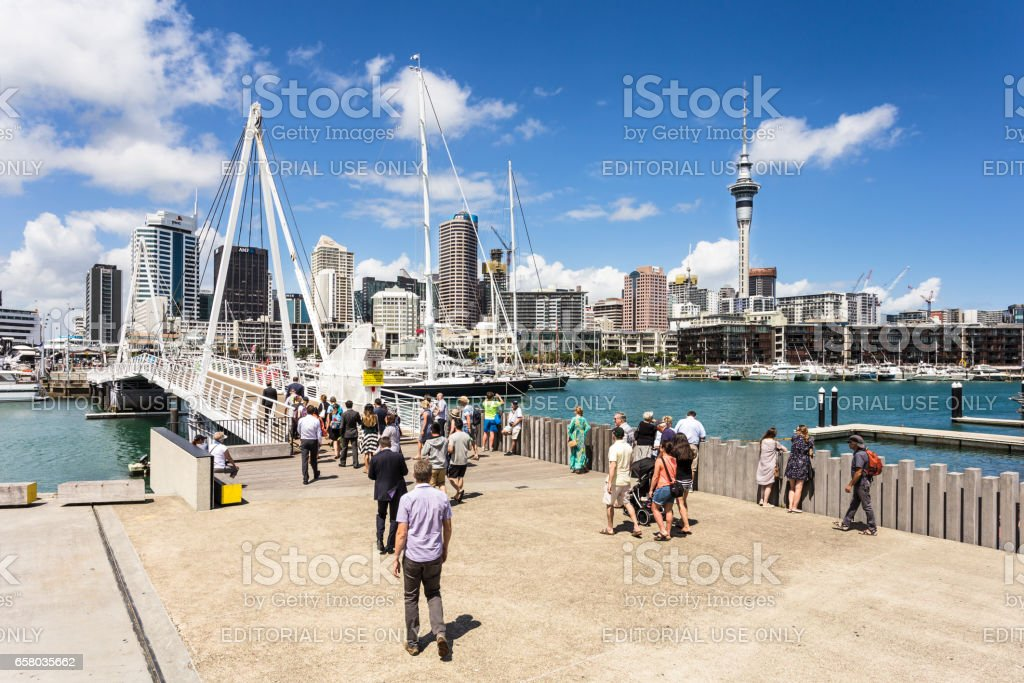 Wynyard district and Viaduct Marina in Auckland, New Zealand largest city. stock photo