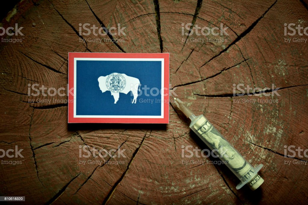 Wyoming flag on a stump with syringe injecting money in flag stock photo