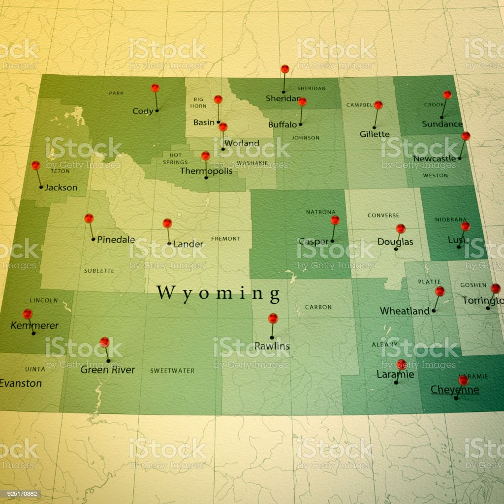Wyoming Map Square Cities Straight Pin Vintage Stock Photo