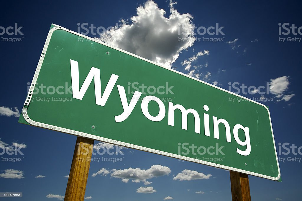 Wyoming Road Sign royalty-free stock photo