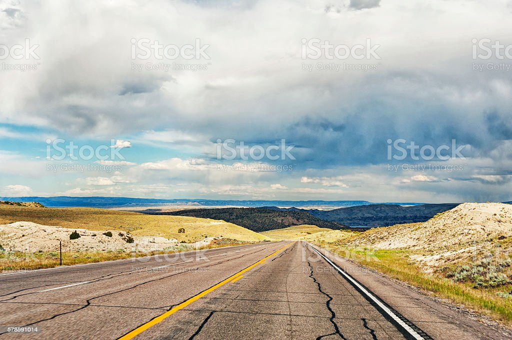 Wyoming Roadway near Casper and Storm Clouds stock photo