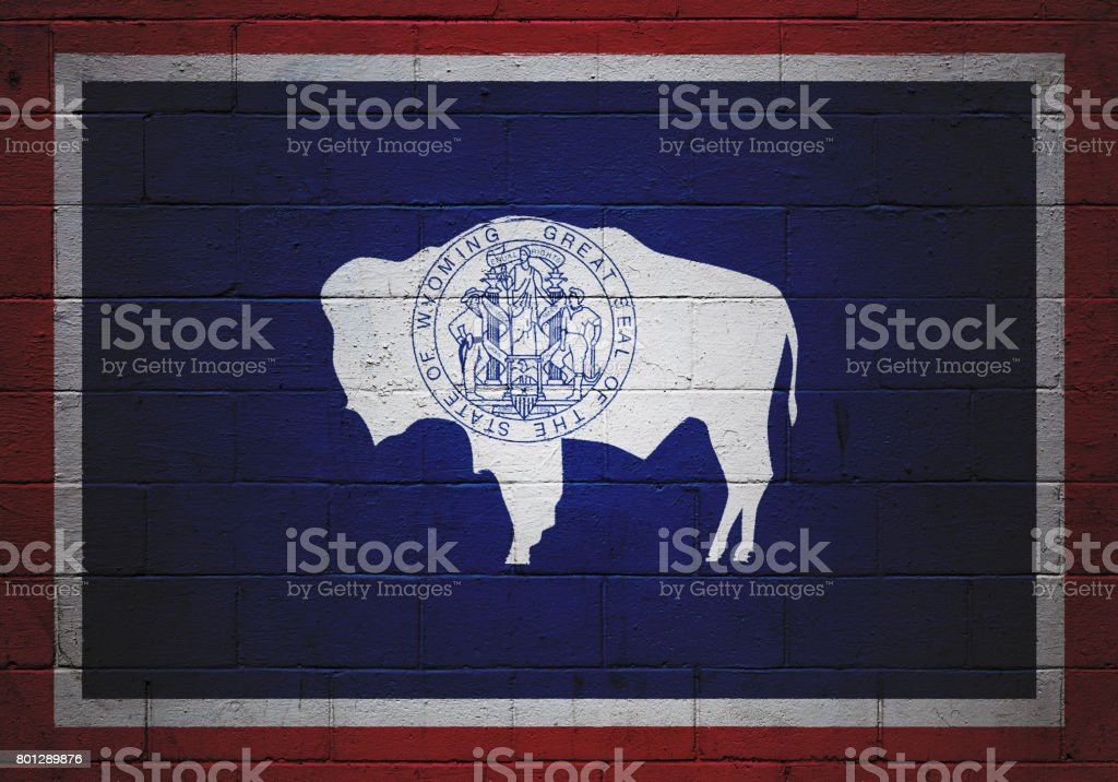Wyoming state flag painted on a wall stock photo