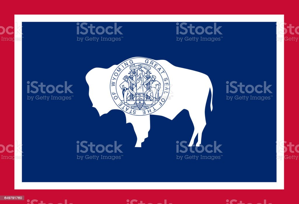 Wyoming State flat flag stock photo