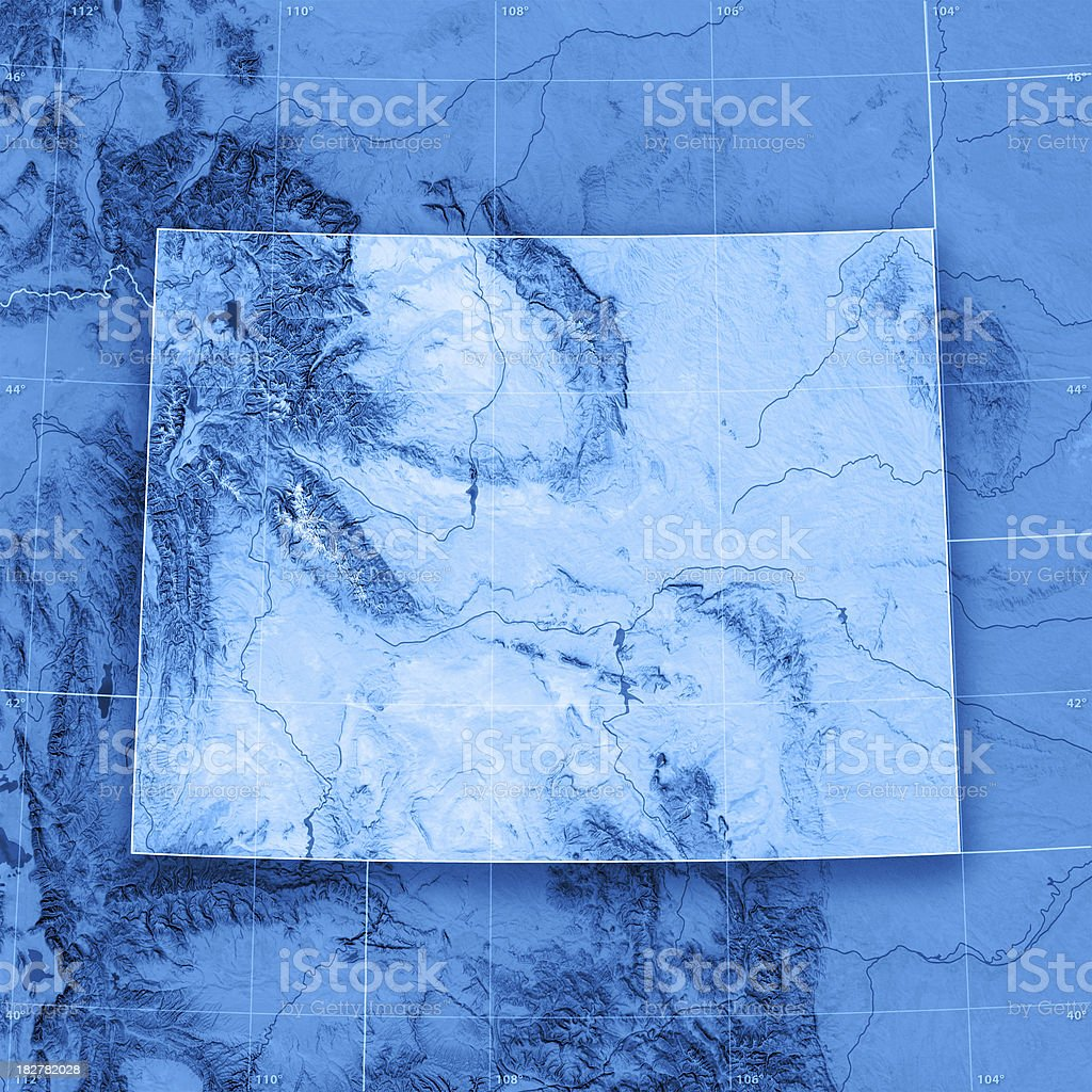 Wyoming Topographic Map stock photo