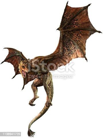 Wyvern or dragon 3D illustration