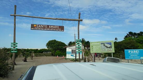 4 x 4 offroad car entering the Lencois Maranhenses park area in Santo Amaro, Maranhao, Brazil.