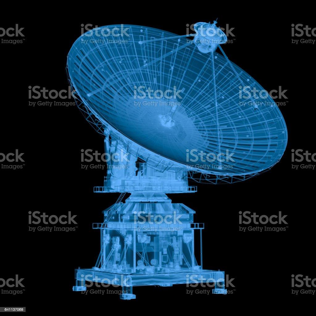 x ray satellite isolated on black stock photo