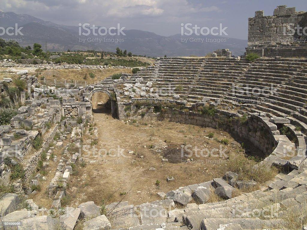 Xanthos Theatre, Turkey royalty-free stock photo