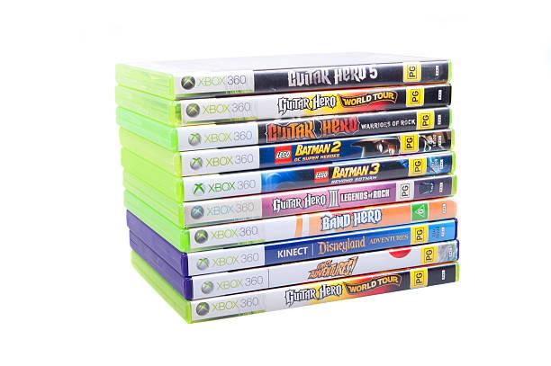 xbox 360 spielen - spielesammlung stock-fotos und bilder