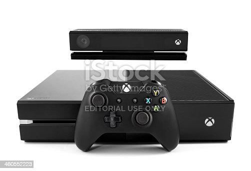 Nashville, Tennessee, USA - November, 30th 2013: An isolated photograph of the new Xbox One video game console, sold by Microsoft, with a kinect motion sensor and the Xbox controller leaning against the front. Shot against a white background in Nashville TN.