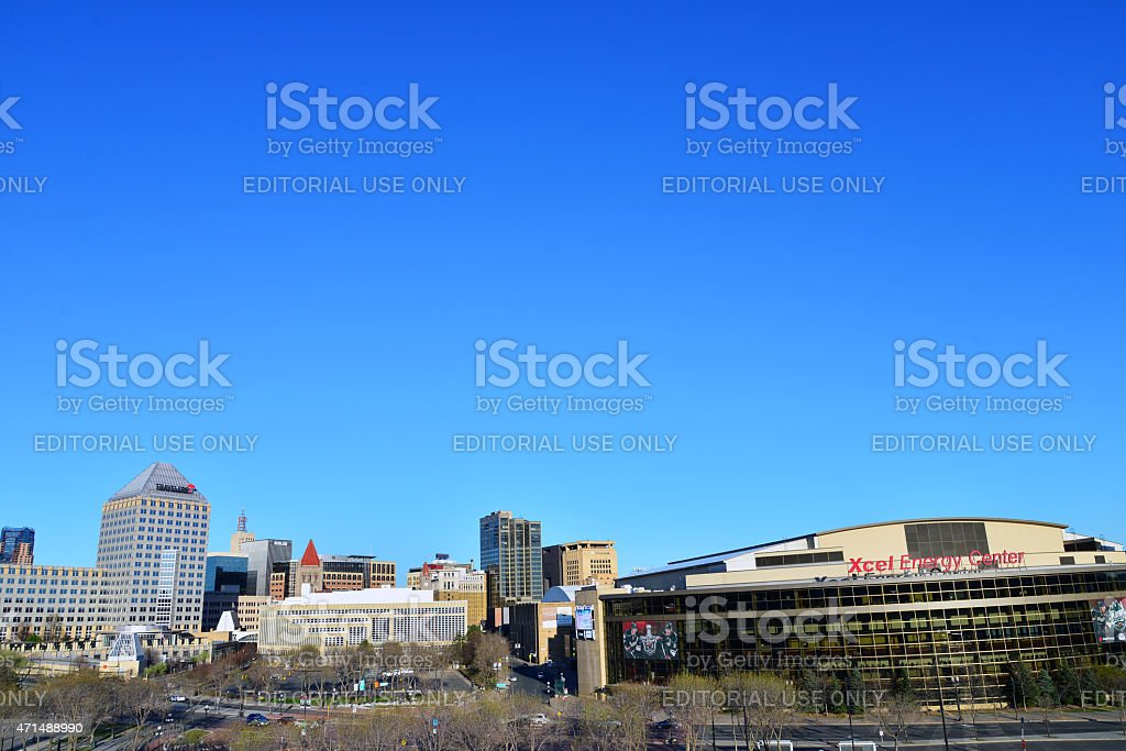 Xcel Energy Center and St Paul Skyline Playoffs stock photo