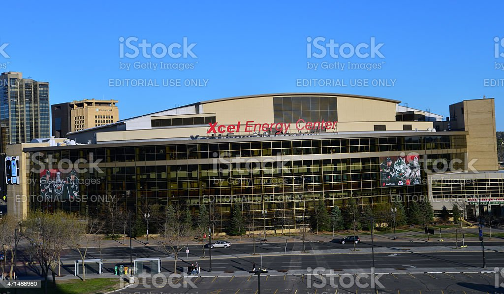 Xcel Energy Center Front St. Paul. NHL Playoffs. stock photo