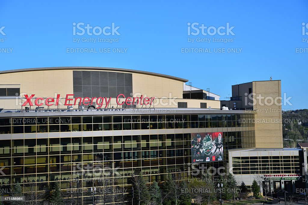 Xcel Enery Center Close Up Playoffs stock photo