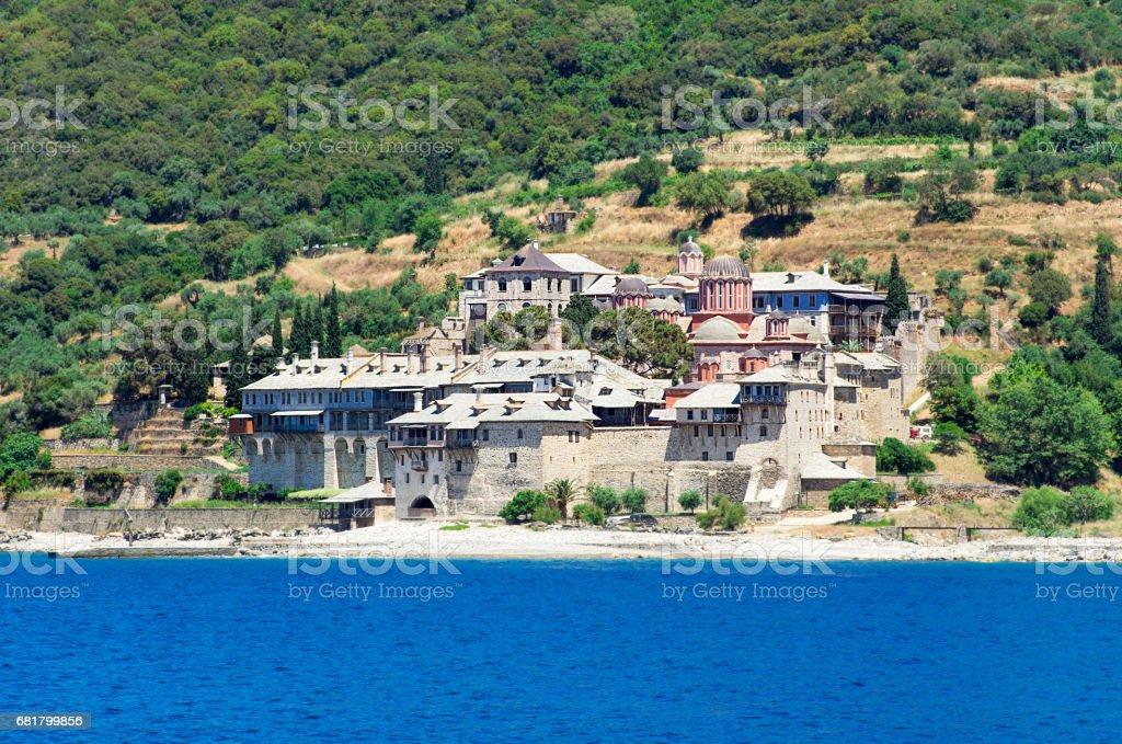 Xenofontos Monastery, Athos Peninsula, Mount Athos, Chalkidiki, Greece stock photo
