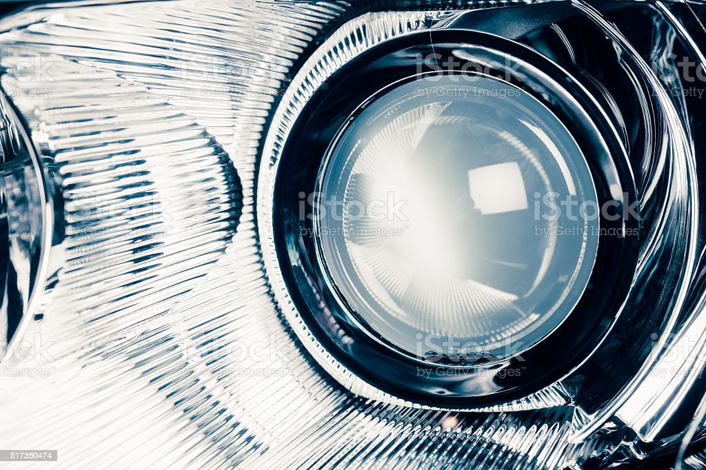 xenon led headlight lamp optic lens stock photo