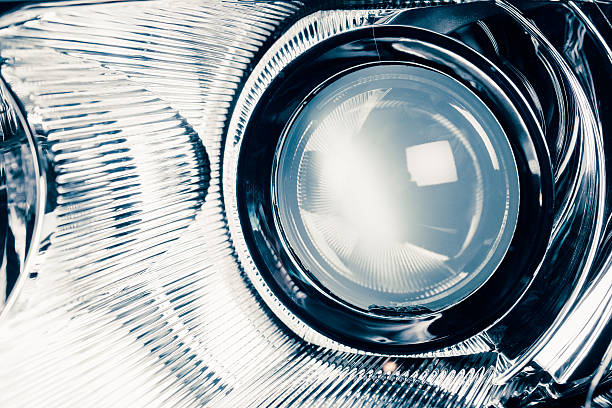 xenon led headlight lamp optic lens xenon led headlight lamp optic lens, macro view headlight stock pictures, royalty-free photos & images